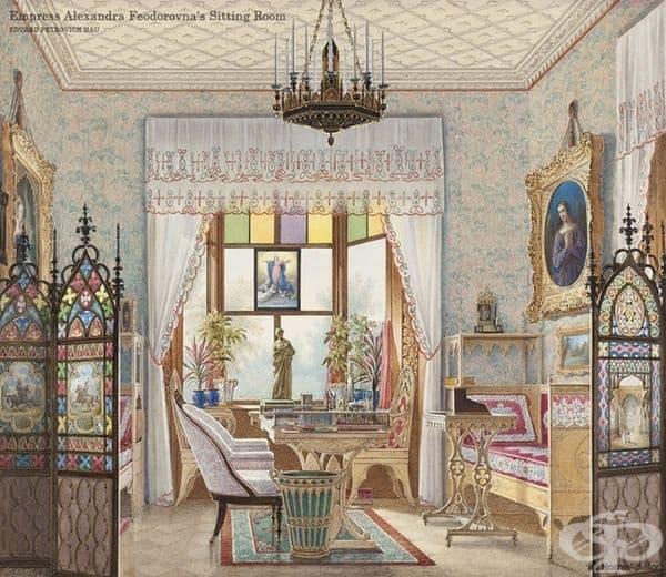 Дворецът на императрица Александра Федоровна, Санкт Петербург, Русия от Едуард Петрович Хау. Интериорът е декориран в неоготически стил.
