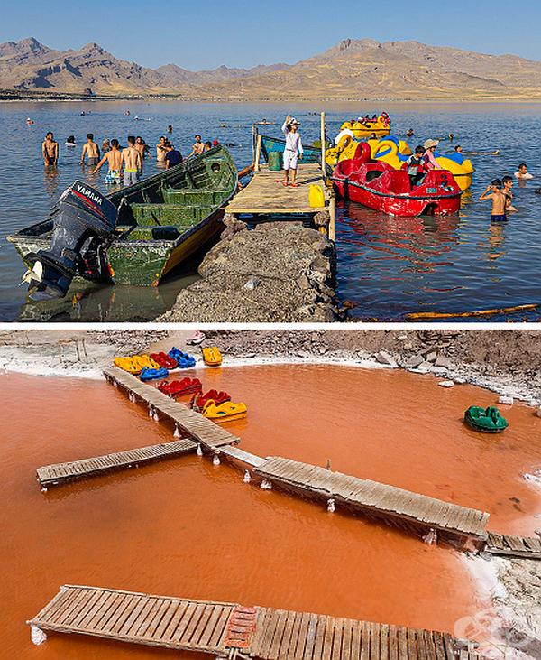 Водите на езеро Урмия в Западен Иран са станали червени и са напът да пресъхнат напълно.