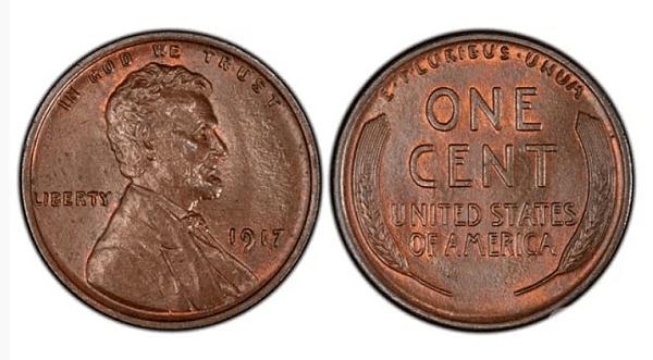 Цент с двоен печат на Линкълн и жито (1917). Цена 5 500 $. В перфектно състояние този цент може да се продаде за 150$. Но копието с двоен печат на лицевата страна, изсечено във Филаделфия, е съкровената мечта на много нумизмати.