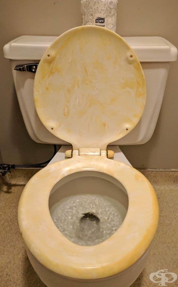 Жълта седалка за тоалетна чиния?
