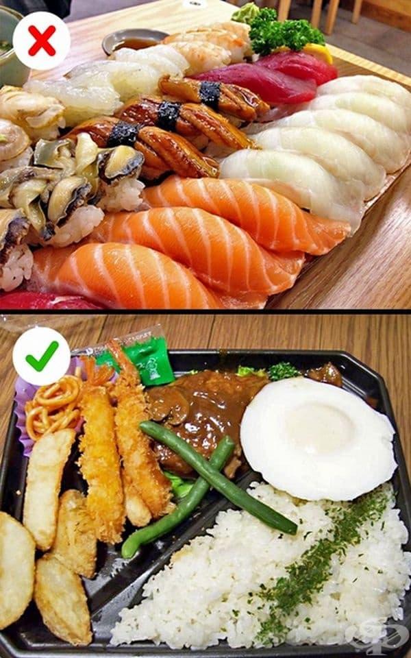 Мит 11. Най-разпространената храна е суши. Всъщност това е скъпа храна и японците си я позволяват веднъж седмично или по празници. Ежедневно се консумира ориз, супи, зеленчуци, риба, месо.