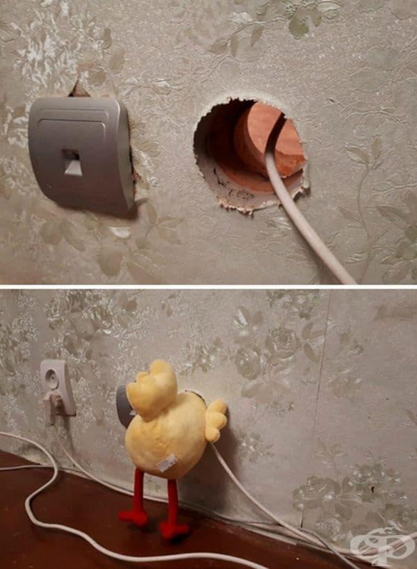 Интересен начин да се скрие дупка в стената.