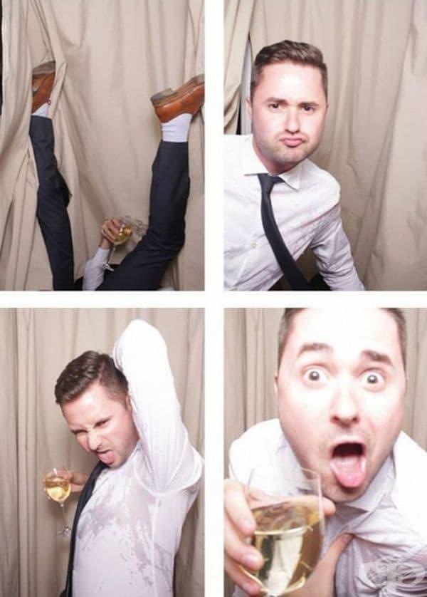 Младоженецът е искал снимки във фотокабина, при липсата на такава се е получило това.