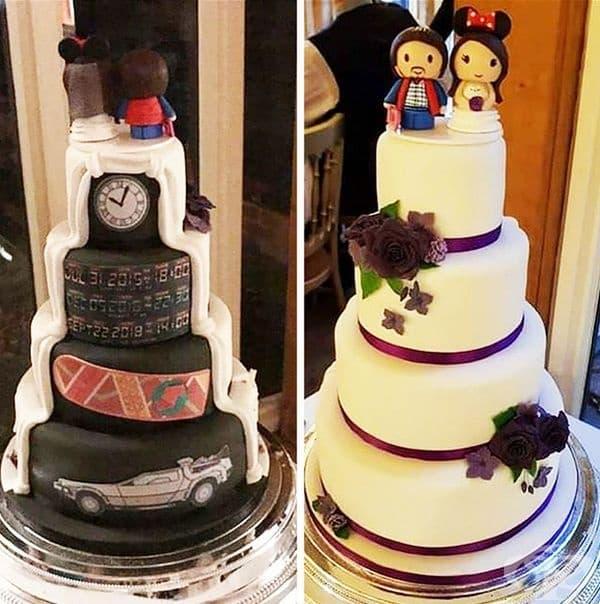 Тази сватбена торта е красива от различни гледни точки.