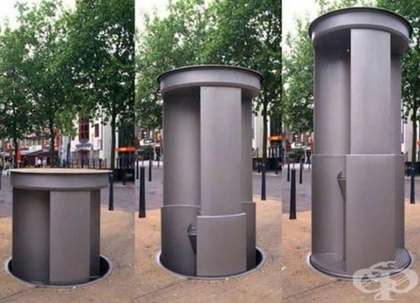 Pop-Up тоалетна. Urilift е холандско изобретение и творческо решение за нощни купонджии. Инсталациите се появяват всяка вечер и се прибират в земята през деня.
