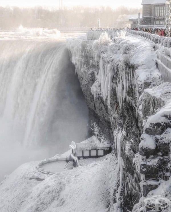 Ниагарският водопад през зимата.