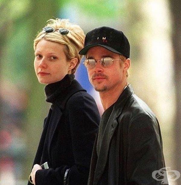 Брад Пит и Гуинет Палтроу на разходка в Париж през 1997 година.