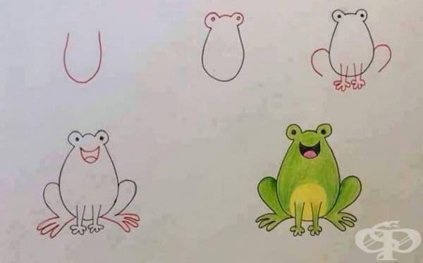 U - идеална основа за рисуване на жаба.