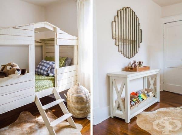 Кънтри стил. Бялото е добър избор за детска стая, защото прави пространството по-светло и визуално по-широко. Подобна къщичка е нещо, което и тийнейджърите, и децата ще обичат.