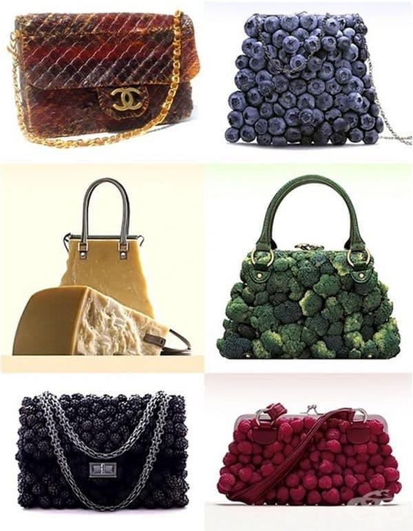 Дамски чанти от храна. Чанта Chanel от сушено говеждо месо, чанта от боровинки, от кашкавал, броколи, боровинки и малини.