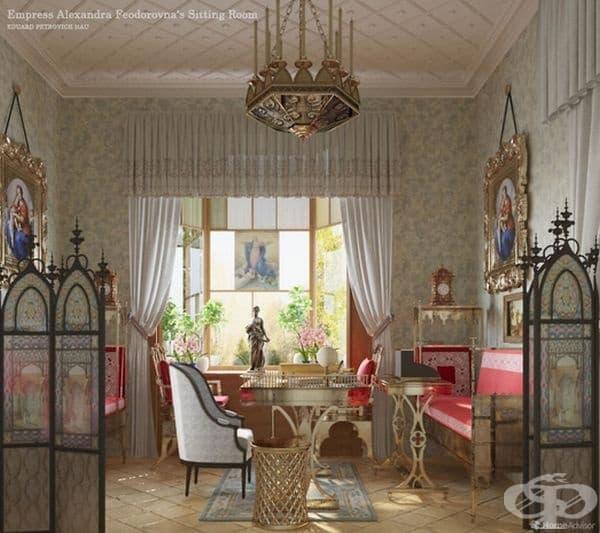 В тази картина Петрович изобразява дневната на Царицата от древна Русия, която изглежда доста шикозна, с много детайли от витражи, готически полилей и параван.