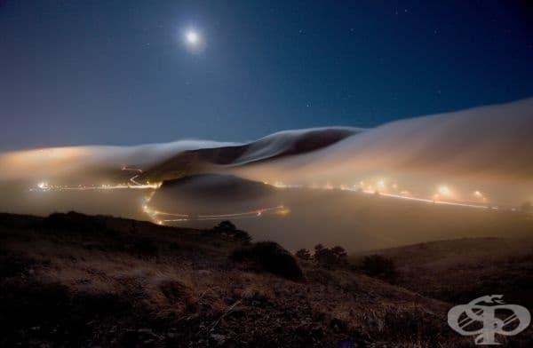 Нощна мъгла в Саусалито, Калифорния, САЩ.