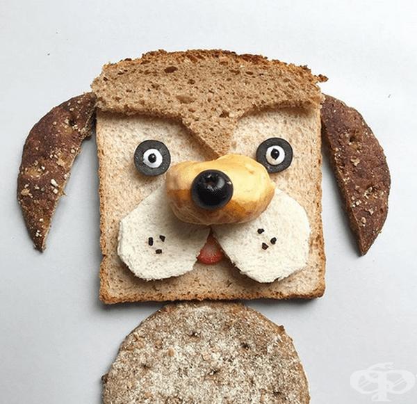 Забавни лица на герои от хляб и зърнени продукти