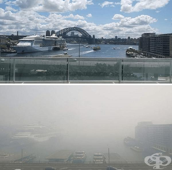 Изглед към Сидни преди и след.
