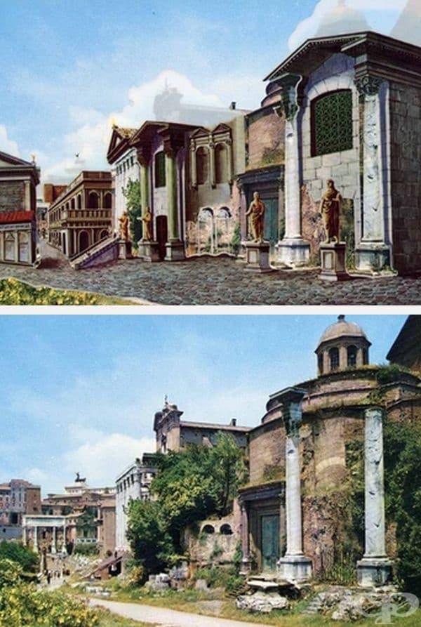 На преден план е Храмът на Ромул и зад Храмът на Антонин и Фаустина