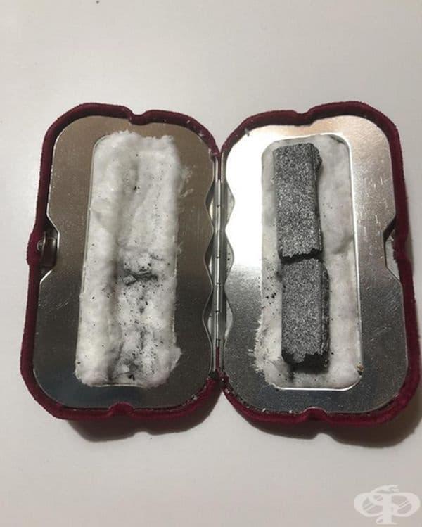 Приспособление за затопляне на ръце. В кутията има запалени въглища, които изгарят за 10 минути, а топлината от тях се отдава в продължение на 9 часа.