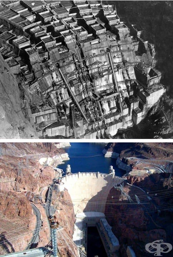 Стената на язовир Хувър, Невада, САЩ. Строителство: 1931-1936 г
