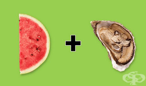 Диня със стриди. Перфектната комбинация: вкусът на динята съдържа нотки на краставица, които се съчетават перфектно с вкуса на стриди, а стридите усилват сладостта на динята.