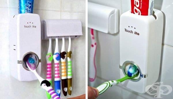 Автоматичен дозатор за паста за зъби.