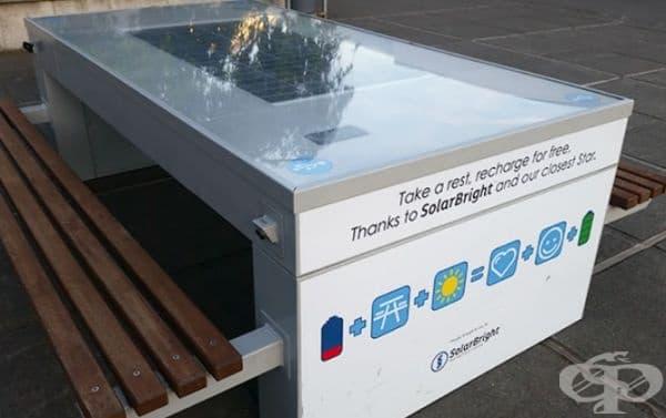 Училище с маси със слънчеви панели, към които има инсталирани USB портове. Учениците спокойно могат да си зареждат своите устройства.