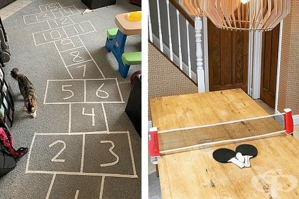 Тези две игри обикновено се играят навън, но защо да не ги принесете и у дома. Трябва ви малко хартиено тиксо за дамата и подходяща маса за тениса. Време е забавления.