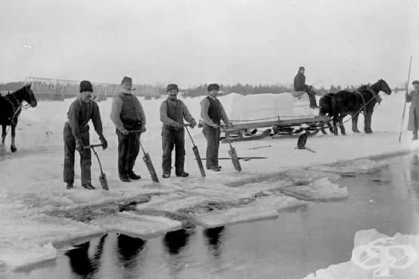 Копачи на лед - преди хладилниците ледът се е добивал от замръзнали реки и ледници