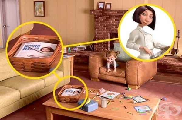 """""""Отвътре-навън"""": Докато малката Райли играе в хола, може да   забележите списание върху масата. На неговата корица е Колет от """"Рататуи""""."""