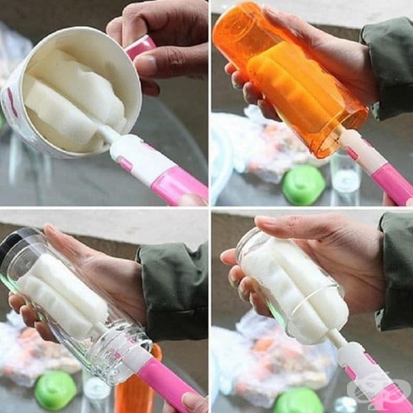 Четка, която може да почиства бебешките бутилки по-ефективно.
