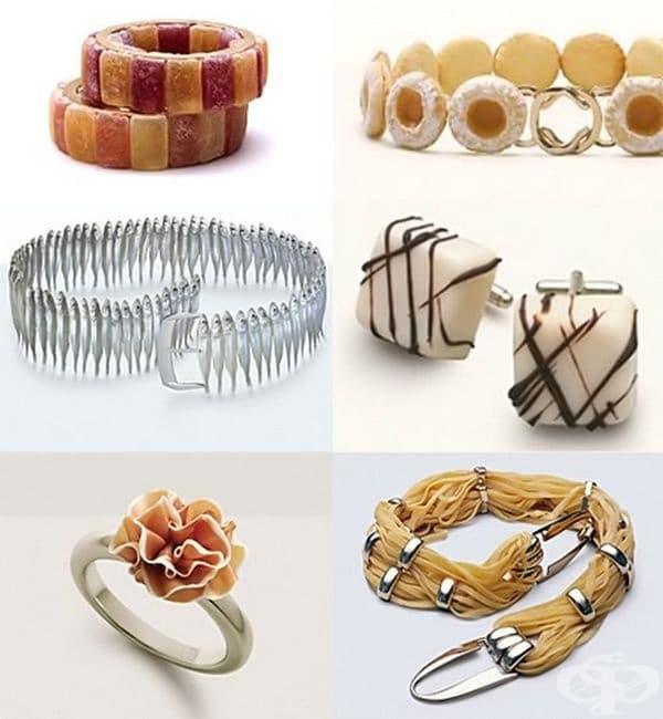 Аксесоари от храна 0 гривна от мармалад, гривна от сладки, колан от сардини, шоколадови обеци, пръстен от бекон и колан от паста.