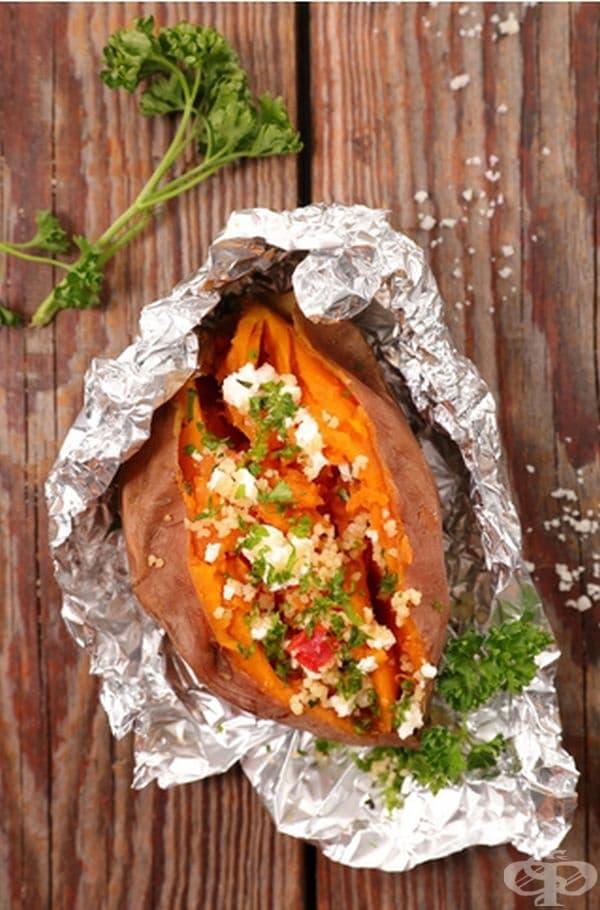 Сладък картоф. Според Cleveland Clinic, един сладък картоф помага да се абсорбират неразтворимите фибри и поддържа организма сит за по-продължнителен период от време. Добре се конбинира със зеленчуци.