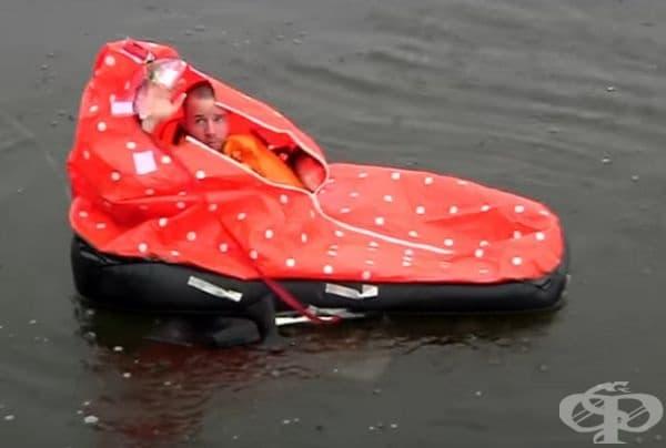 Спасителна жилетка, която се превръща в спасителна лодка. Cobham създава спасителна жилетка, която съдържа индивидуален балдахин, който може да се използва като спасителна лодка.