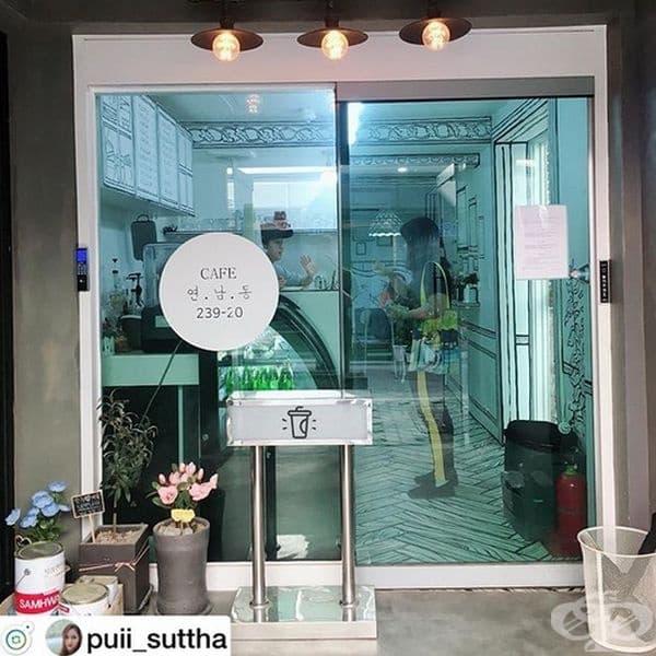 Не, това не е рисунка, а истинско кафене в Сеул, където може да се почувствате като персонаж от комикс