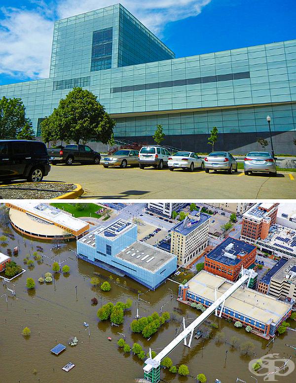 Прииждането на река Мисисипи наводнява целия град.