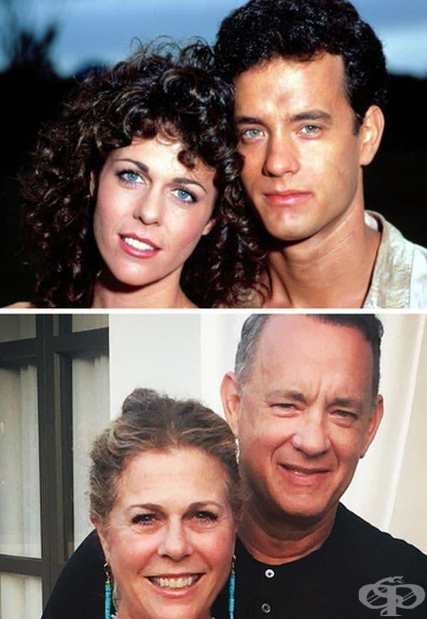 """Рита Уилсън: 30 години брак. Рита се среща своя бъдещ съпруг Том Ханкс на снимачната площадка на """"Bosom Buddies"""" през 1981 г. Те се женят през 1988 г. Според Том Уилсън тайната за щастливия брак е участието в живота на половинката."""