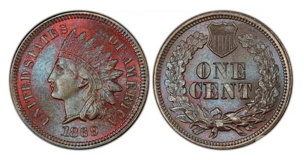 Цент с индианец (1869). Цена: 750$. Защо е ценна? Това е обикновена рядка монета, без дефект. От тези монети са сечени само около 6,5 милиона, но от тогава повечето са заличени. В добро състояние струва много.