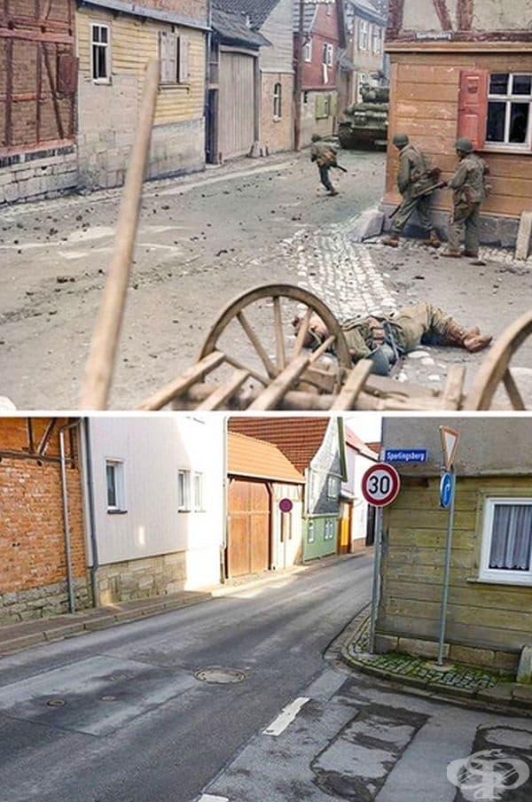 Една и съща улица по време на война и днес.