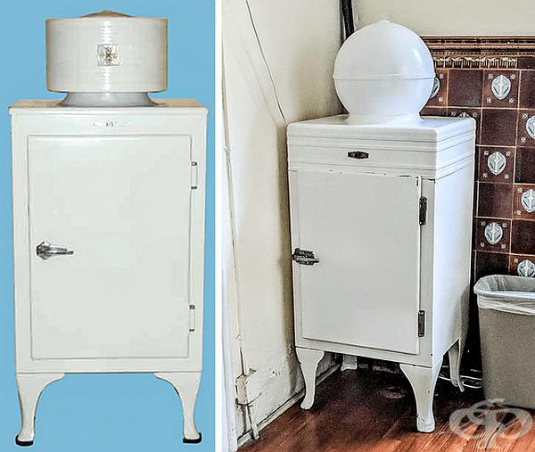 Хладилник. През 1926 г. датският инженер Кристиан Стеенструп показва на света първия безшумен, безобиден и издръжлив хладилник, проектиран специално за домашна употреба. В горната част на устройството е поставен електромотора и компресора на хладилника.