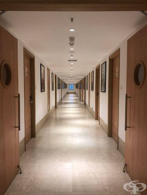 Изключително удовлетворяващ хотелски коридор в Индия.