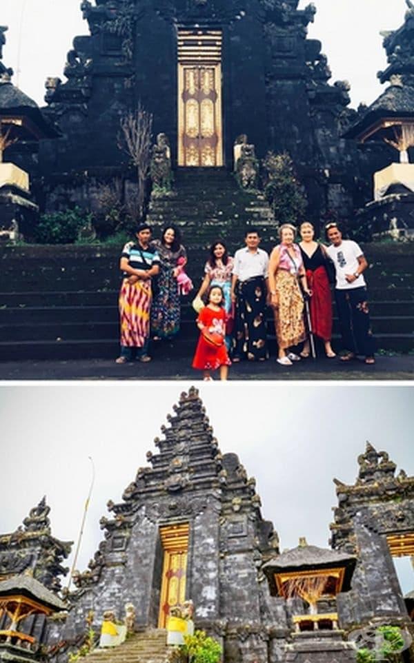 Храм близо до вулкана Агунг, Бали, покрит в сажди, 2017 г.