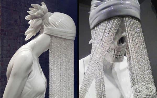 """""""Призрачното момиче"""" е създадено от британския скулптор Кевин Франсис Грей. Трудно може да забравите тази скулптура. Лицето на момичето е покрито с воал, който символизира нейното отхвърляне от настоящата действителност."""