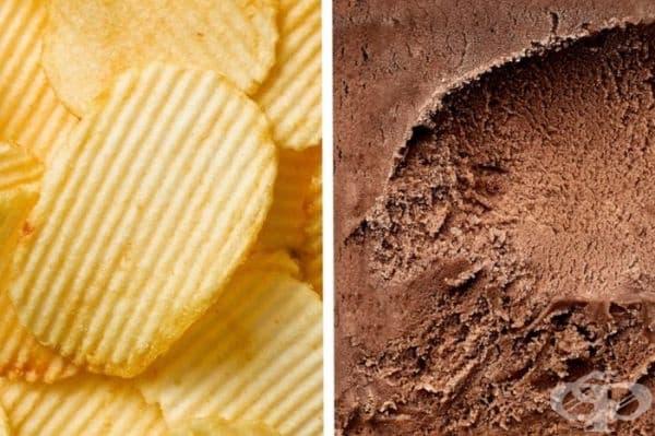 Чипс със сладолед. Чипсът е много добър, ако го потопите в леко разтопен сладолед.