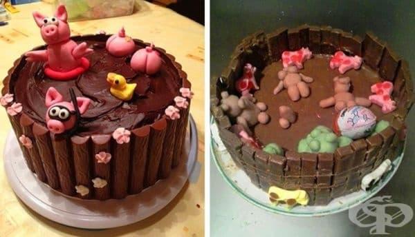 Във втората торта прасенцата изглеждат щастливи в калта.