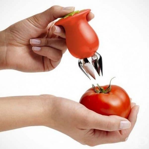 Инструмент за отстраняване на дръжката от домата.