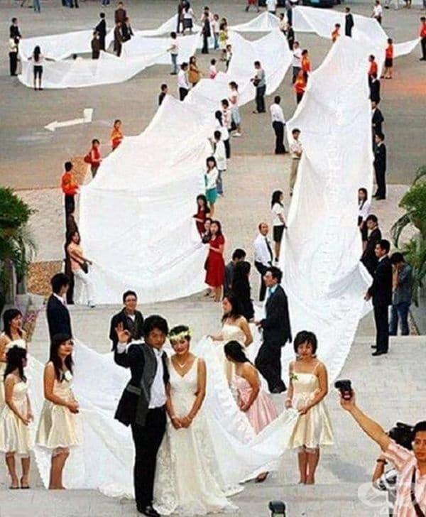 Най-дългата сватбена рокля на света.