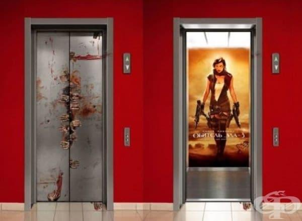 """""""Заразно зло"""". Рекламата на асансьора е поставена преди пускането на филма по кината през 2007 г. в Киев, Украйна."""