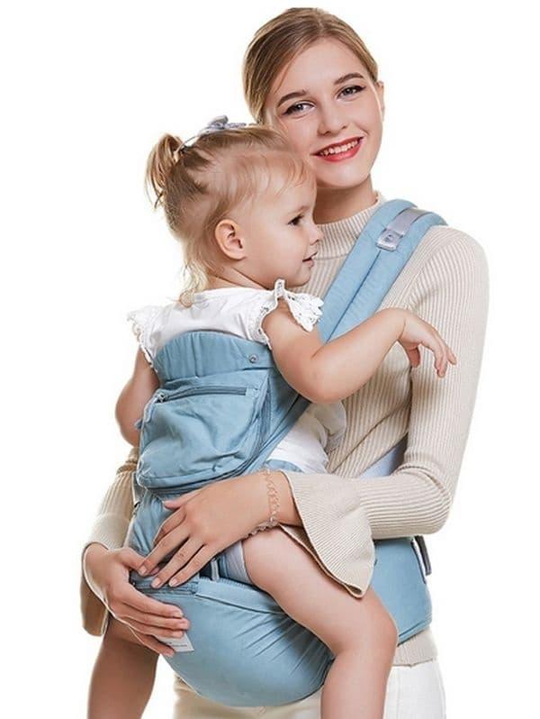Кенгуру с регулируема седалка за бебето и максимално удобство за родителя.