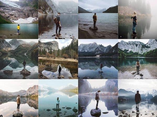 Върху малка скала или камък в началото на езеро или река.