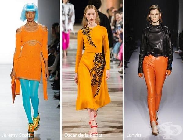 Russet Orange се появи неочаквано на подиумите на много дизайнери. Този ярък цвят се съчетава добре с вещи от различни стилове.