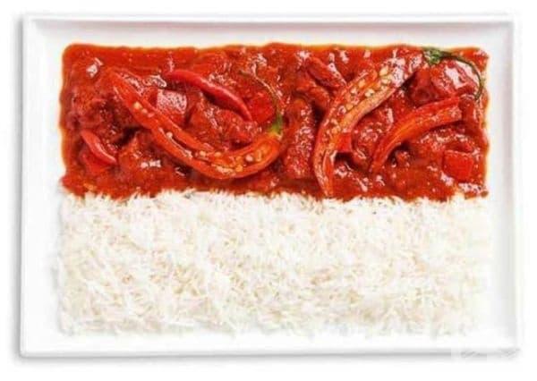 Индонезия: пикантно къри, ориз, сос Самбал