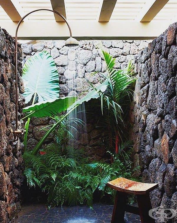 Ако не можете да си позволите душ отвън, то внесете природата вътре.